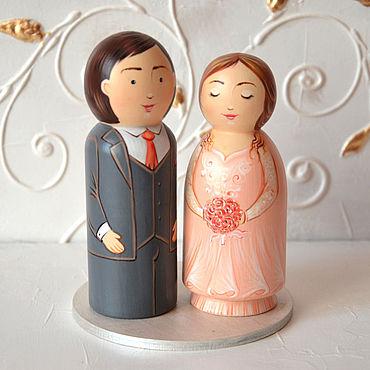 Свадебный салон ручной работы. Ярмарка Мастеров - ручная работа Свадебные фигурки на торт, топпер, украшение свадебного торта. Handmade.