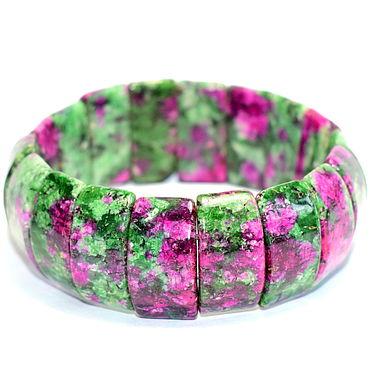 Decorations handmade. Livemaster - original item Bracelet with natural ruby in zoisite / Muscovite/fuchsite. Handmade.