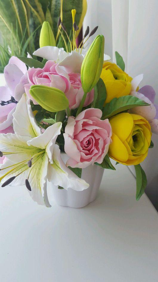 Букеты ручной работы. Ярмарка Мастеров - ручная работа. Купить Весенний букет с лилиями и ранункулюсами. Handmade. Анемоны, лилии