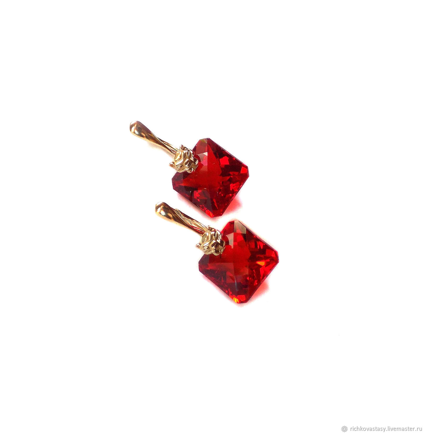 Earrings Handmade Livemaster Leo Red Topaz Carat 25