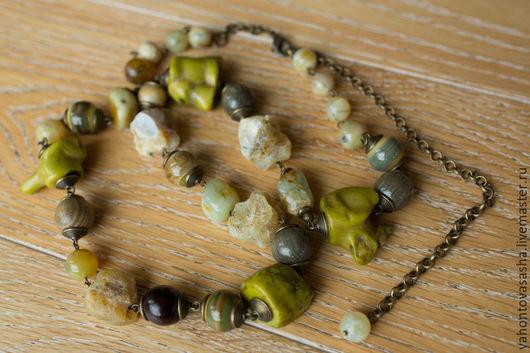 """Колье, бусы ручной работы. Ярмарка Мастеров - ручная работа. Купить """"В путешествие..."""", длинные бусы из натуральных камней. Handmade."""