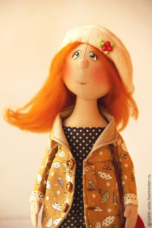 Коллекционные куклы ручной работы. Ярмарка Мастеров - ручная работа. Купить Осень романтичная. Текстильная коллекционная кукла.. Handmade. Оранжевый