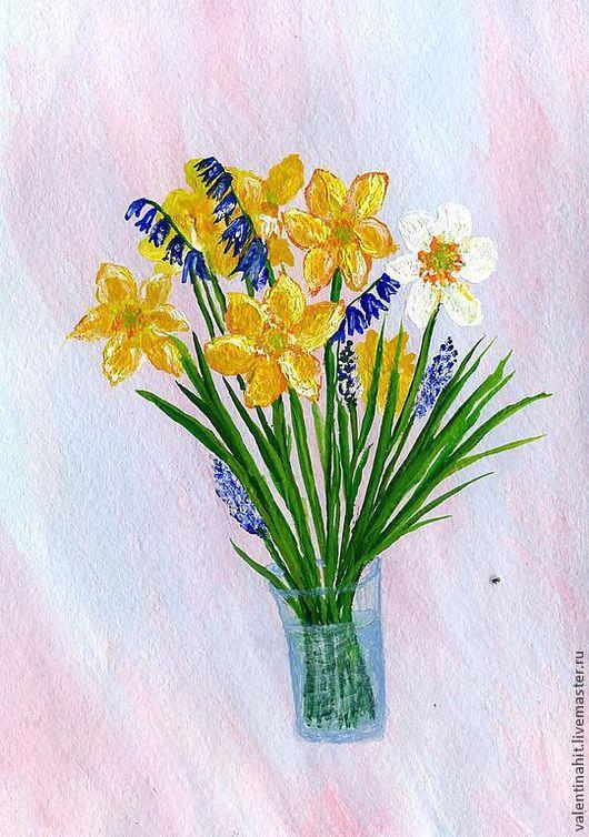 """Персональные подарки ручной работы. Ярмарка Мастеров - ручная работа. Купить картина  """"Весенний букет с нарциссами"""" (желтый, синий). Handmade."""