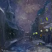 Картины и панно ручной работы. Ярмарка Мастеров - ручная работа Вечерний снег. Handmade.