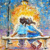 """Картины и панно ручной работы. Ярмарка Мастеров - ручная работа Картина """"Ночь под луной. Двое"""""""" холст, масло, оргалит. Handmade."""