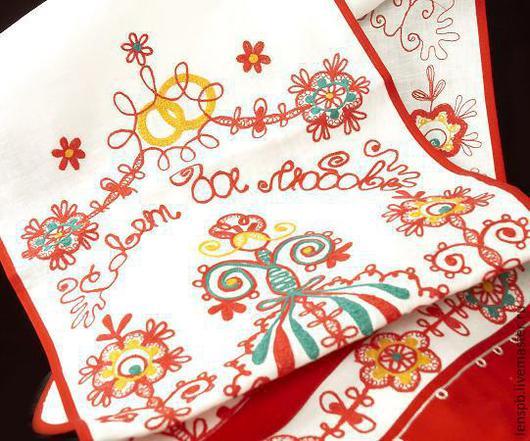 Свадебные аксессуары ручной работы. Ярмарка Мастеров - ручная работа. Купить Рушник льняной с вышивкой. Handmade. Рушник свадебный