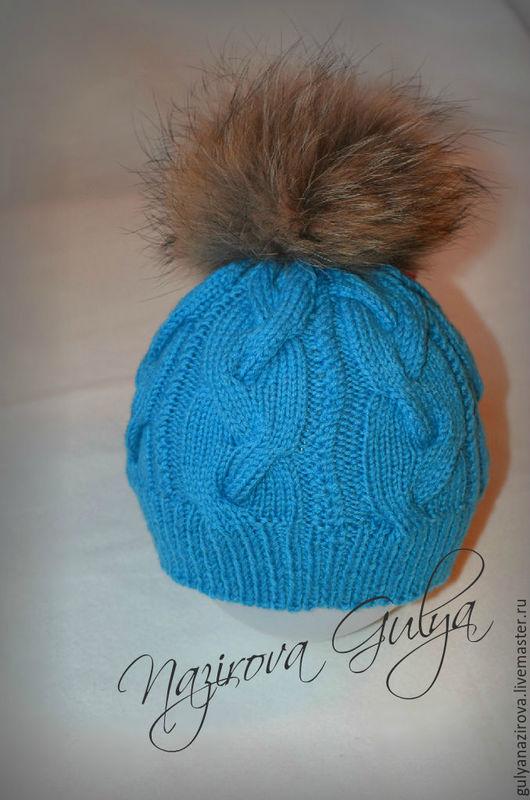 Одежда для девочек, ручной работы. Ярмарка Мастеров - ручная работа. Купить Зимняя шапочка с меховым помпоном. Handmade. Голубой