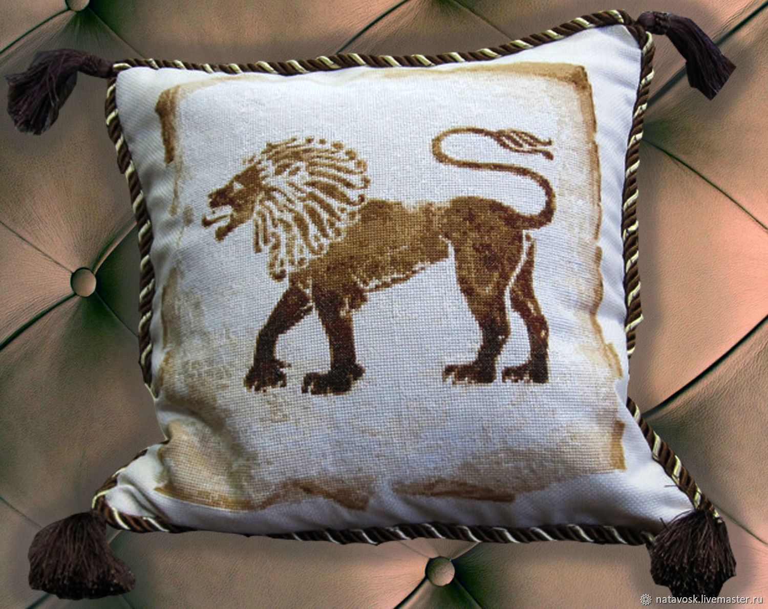 Cross stitch Decorative Pillow Leo, Pillow, Rostov-on-Don,  Фото №1
