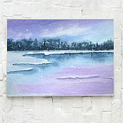 Картины и панно handmade. Livemaster - original item Watercolor painting Winter lake. Handmade.