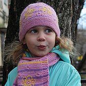 """Работы для детей, ручной работы. Ярмарка Мастеров - ручная работа Шапочка и шарф для девочки """"Розовое настроение"""". Handmade."""