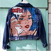 Одежда ручной работы. Ярмарка Мастеров - ручная работа Джинсовая куртка с ручной росписью в стиле поп-арт. Handmade.