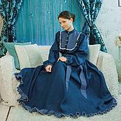 Одежда ручной работы. Ярмарка Мастеров - ручная работа Платье синее с круглой кокеткой. Handmade.