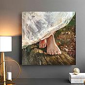 Картины и панно handmade. Livemaster - original item Barefoot, painting with a girl, oil on canvas.. Handmade.