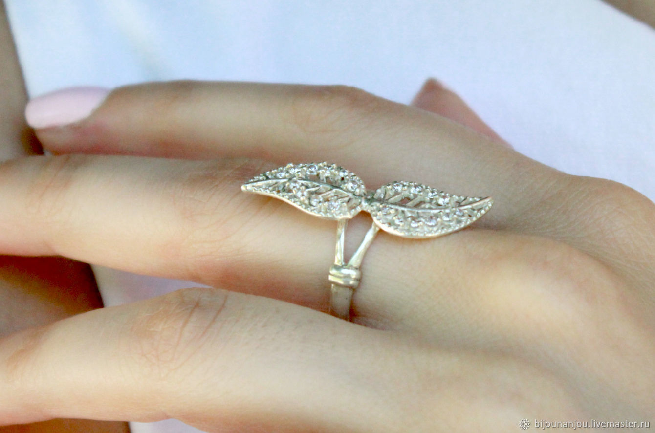 Ring 'Leaves' of 925 silver with zircons, Rings, Yerevan, Фото №1