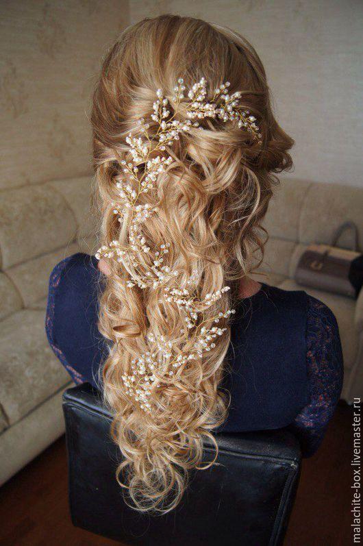 Свадебные украшения ручной работы. Ярмарка Мастеров - ручная работа. Купить Свадебное украшение для волос, веточка для свадебной прически, айвори. Handmade.