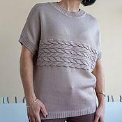 Одежда ручной работы. Ярмарка Мастеров - ручная работа жилет с косами  трикотажный. Handmade.