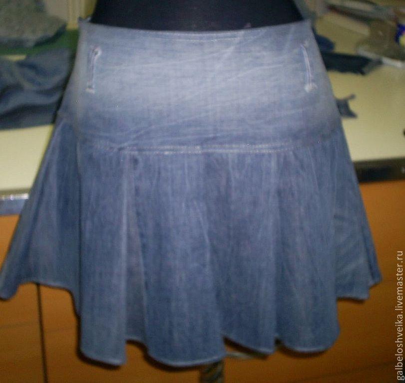 Как сшить юбку на джинсовой кокетке
