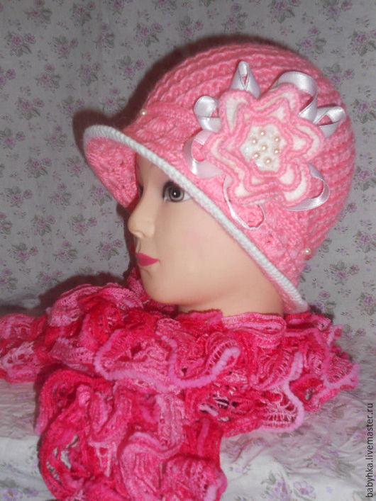 Шляпы ручной работы. Ярмарка Мастеров - ручная работа. Купить шляпка для девочки с шарфом. Handmade. Розовый