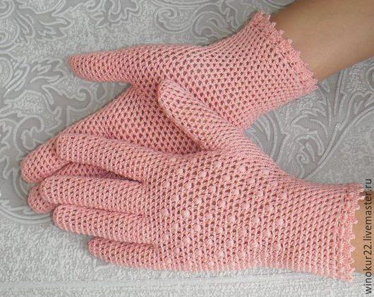 """Варежки, митенки, перчатки ручной работы. Ярмарка Мастеров - ручная работа. Купить Перчатки ажурные """"Розовый кварц"""". Handmade."""