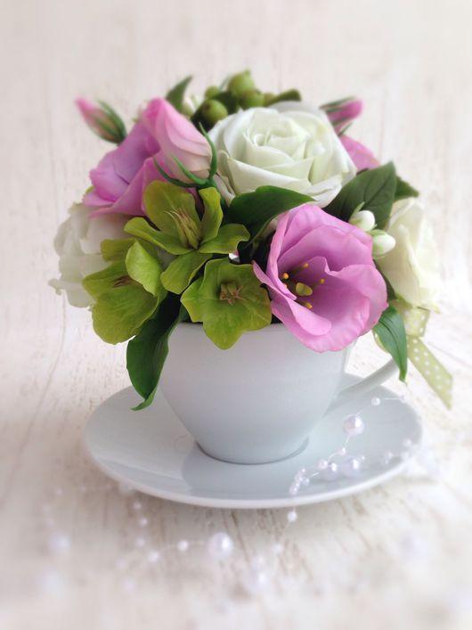 Букеты ручной работы. Ярмарка Мастеров - ручная работа. Купить Букет из холодного фарфора в чашке Розы и Эустома. Handmade.