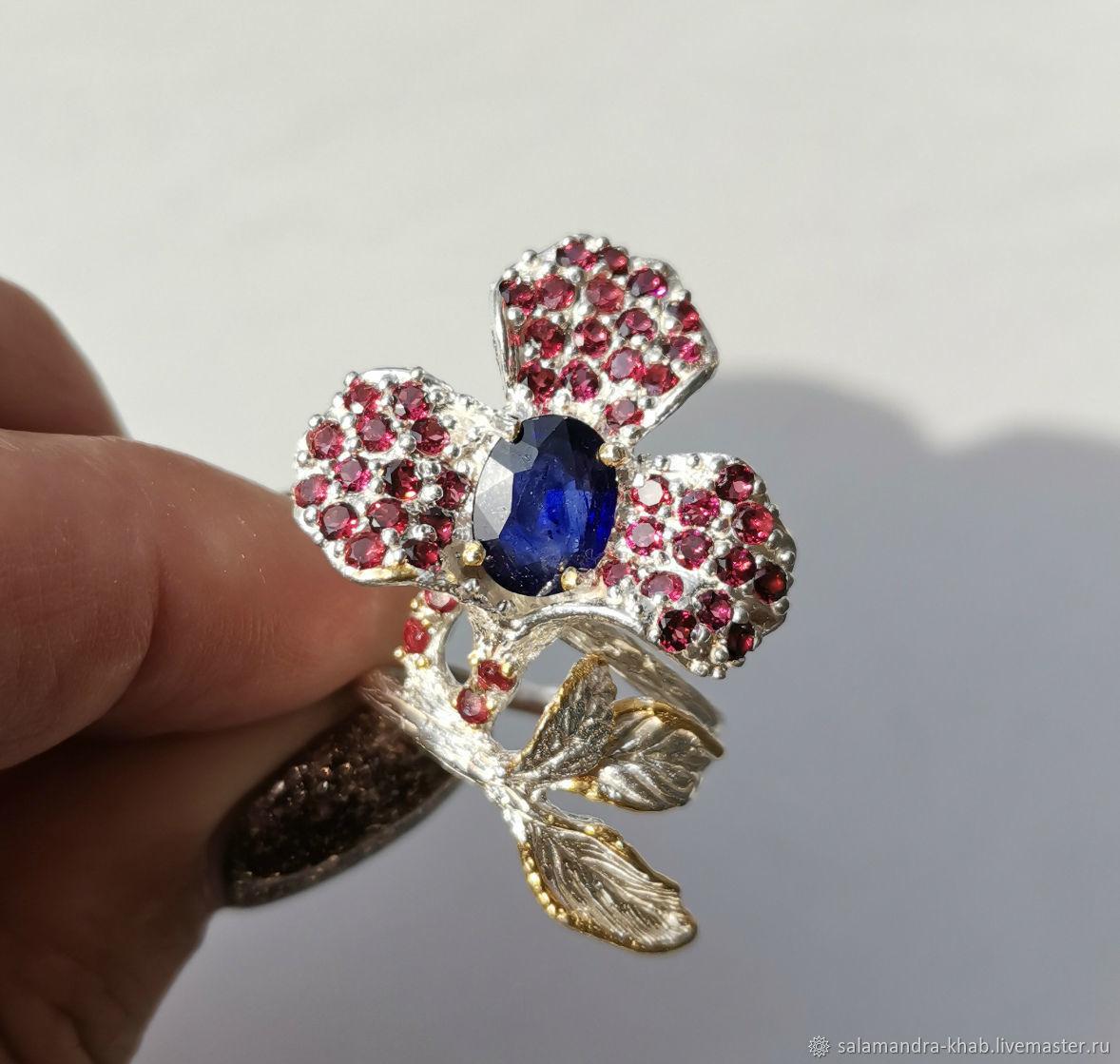 Кольцо Дикая орхидея с натуральным сапфиром 2,2 ct. Серебро 925 пробы, Кольца, Хабаровск,  Фото №1