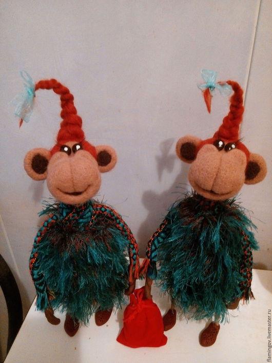 Игрушки животные, ручной работы. Ярмарка Мастеров - ручная работа. Купить Обезьянка Новогодняя....))). Handmade. Рыжий, обезьянка из шерсти
