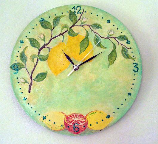 Часы для дома ручной работы. Ярмарка Мастеров - ручная работа. Купить Часы - Лимоны. Handmade. Часы настенные, часы