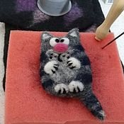 Пояса ручной работы. Ярмарка Мастеров - ручная работа Брош валяная Котик-мотик. Handmade.