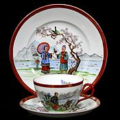 Винтаж handmade. Livemaster - original item Prussian (Silesia) antique trio made of the finest porcelain.. Handmade.