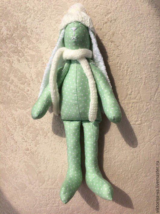 Игрушки животные, ручной работы. Ярмарка Мастеров - ручная работа. Купить Зимний зайка в горох. Handmade. Зеленый, заяц игрушка