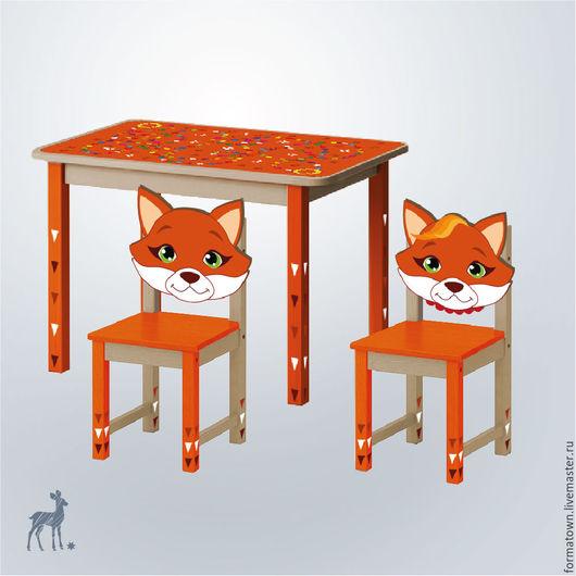 Детская ручной работы. Ярмарка Мастеров - ручная работа. Купить Детский стол и 2 стула Лиса. Handmade.