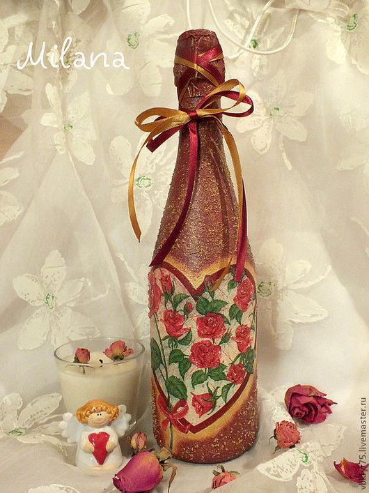бутылка декупаж, декор бутылок, оформление бутылки, романтичный подарок, подарок девушке, подарок любимой, подарок на 14 февраля, сердце и розы, розы