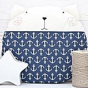 Для дома и интерьера ручной работы. Ярмарка Мастеров - ручная работа Подушка кот в морском стиле, декор в детскую, круглая подушка. Handmade.