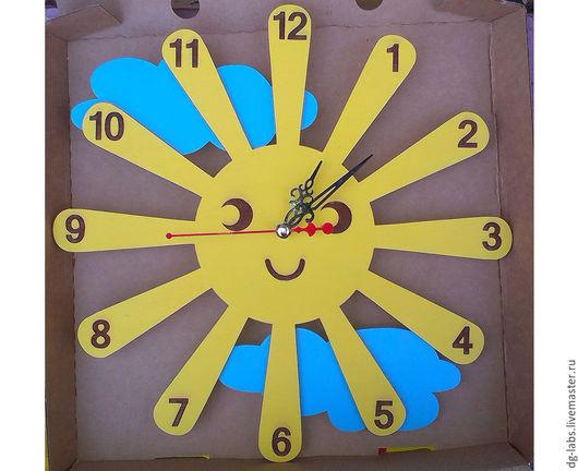 """Часы для дома ручной работы. Ярмарка Мастеров - ручная работа. Купить Часы """"Солнышко"""". Handmade. Часы, солнышко, тучка"""