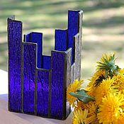 Для дома и интерьера ручной работы. Ярмарка Мастеров - ручная работа Синева. Декоративный витражный подсвечник из стекла. Handmade.