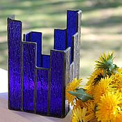 Для дома и интерьера handmade. Livemaster - original item blue. Decorative stained glass candle holder glass. Handmade.