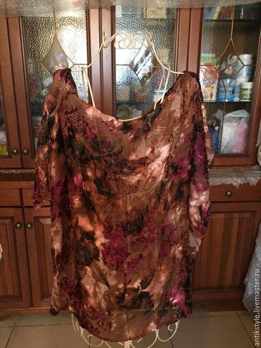 Одежда. Ярмарка Мастеров - ручная работа. Купить Шикарная кофточка из натурального шелка с бархатом. Handmade. Кофточка, Свободный стиль