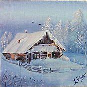 """Картины ручной работы. Ярмарка Мастеров - ручная работа Картина """"жила зима в избушке """"20-20 см. Handmade."""