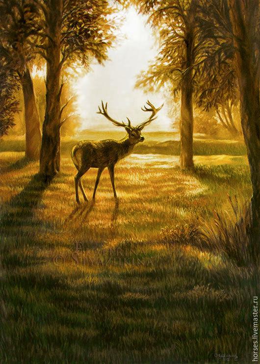 Животные ручной работы. Ярмарка Мастеров - ручная работа. Купить Закат в лесу. Пастель. Handmade. Коричневый, рисунок, пейзаж, свет