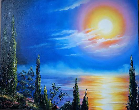 """Пейзаж ручной работы. Ярмарка Мастеров - ручная работа. Купить Картина маслом Прованс Пейзаж с кипарисами - """"Луна цвета солнца"""". Handmade."""