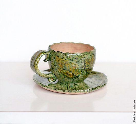 Сервизы, чайные пары ручной работы. Ярмарка Мастеров - ручная работа. Купить Чайная пара Чашка с блюдцем Зеленая с Розовым нутром. Handmade.