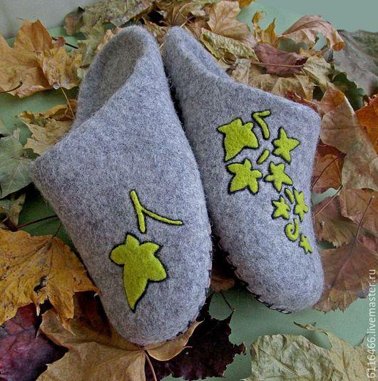 Обувь ручной работы. Ярмарка Мастеров - ручная работа. Купить домашние валяные тапочки- шлепки Листопад. Handmade. Серый