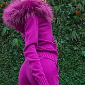 Одежда handmade. Livemaster - original item New! A cashmere suit with a hood and trimmed from Arctic Fox Fuchsia. Handmade.