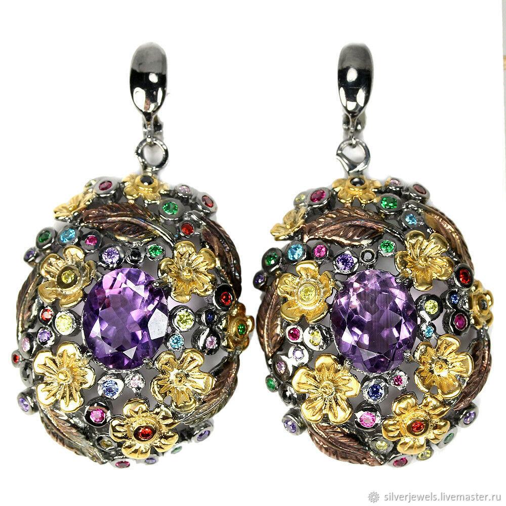 fc07973de Earrings handmade. Livemaster - handmade. Buy 925 sterling silver earrings  with gems and 2 ...