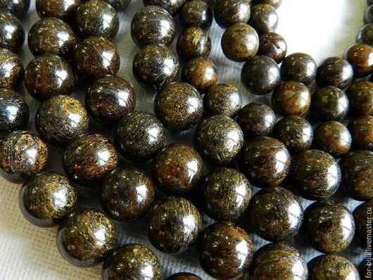 Бронзит бусины гладкий шар 8 мм. отверстие около 1 мм  (арт. 1476)