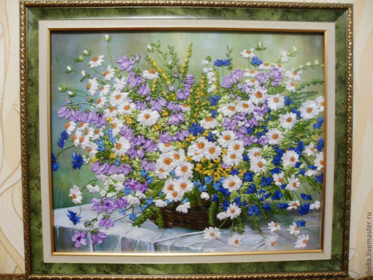 Картины цветов ручной работы. Ярмарка Мастеров - ручная работа. Купить Краски лета. Handmade. Краски, ленты, Вышивка лентами