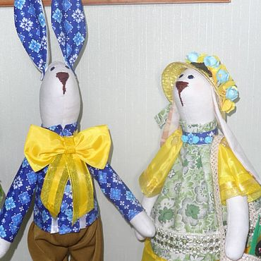 Куклы и игрушки ручной работы. Ярмарка Мастеров - ручная работа Тильды: текстильные зайки. Handmade.