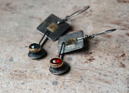 Серьги ручной работы. Ярмарка Мастеров - ручная работа. Купить SAHARA серьги (турмалин, гранат, серебро, золото). Handmade. оранжевый