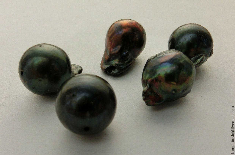 Жемчуг черный павлин барочный натуральный бусины фриформ