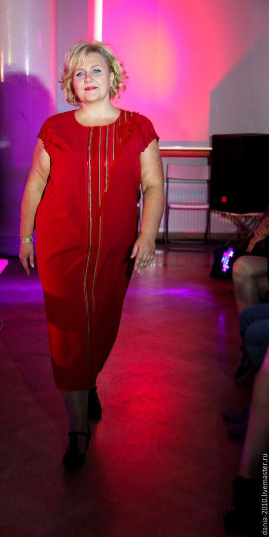 """Большие размеры ручной работы. Ярмарка Мастеров - ручная работа. Купить авторское платье """"ЕЛЕНА"""". Handmade. Ярко-красный"""